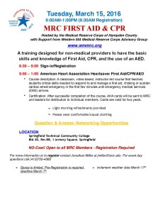 AHA Heartsaver First Aid/CPR/AED @ Springfield Technical Community College, Building 20, Room 88   Springfield   Massachusetts   United States